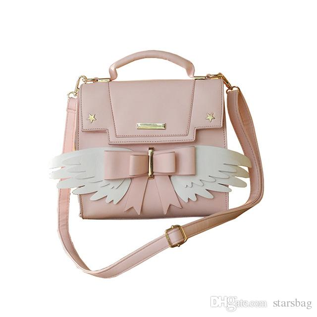 fd327c784e5a 2018 New Girls Cute Pink Shoulder Bag Women Bow Wing Handbags Ladies Star  Sequined Messenger Bag For Party Japan Style Q 26 Purses On Sale Men Bags  From ...