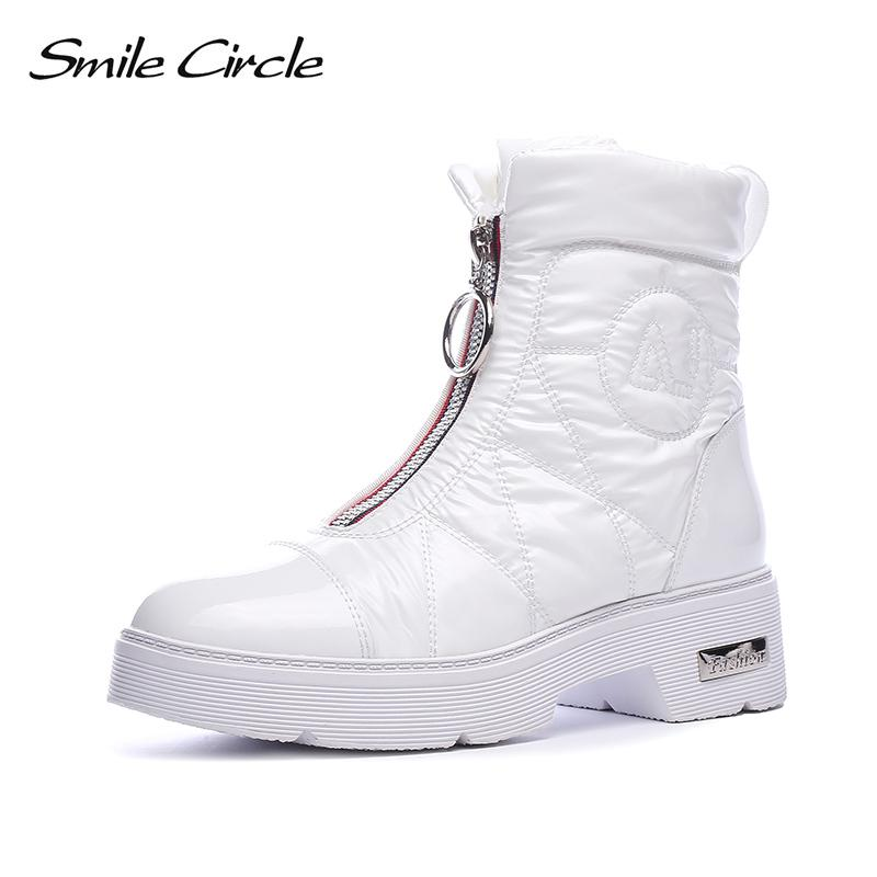 2018 Winter Boots Women Snow Boots Chunky Warm Down Shoes Easy Wear Girl  White Black Zip Flat Platform Shoes Female Smile Circle Green Boots Cute  Shoes From ... 7eedb8b2ed15
