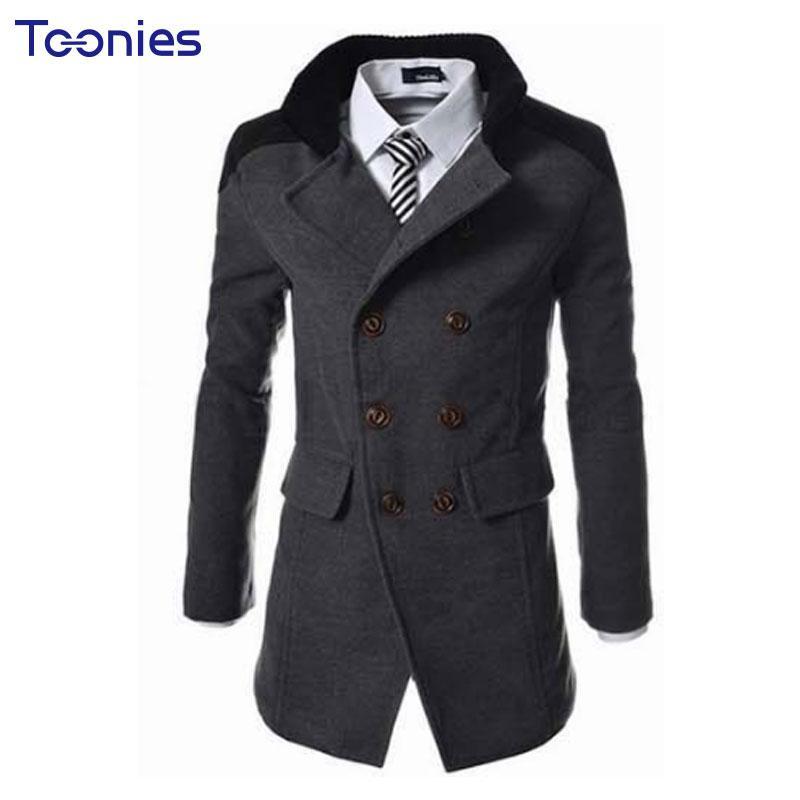 0216ab6d730e4 New Fashion Trench Coat Men Winter Preto Cool Mens Coats Overcoats ...