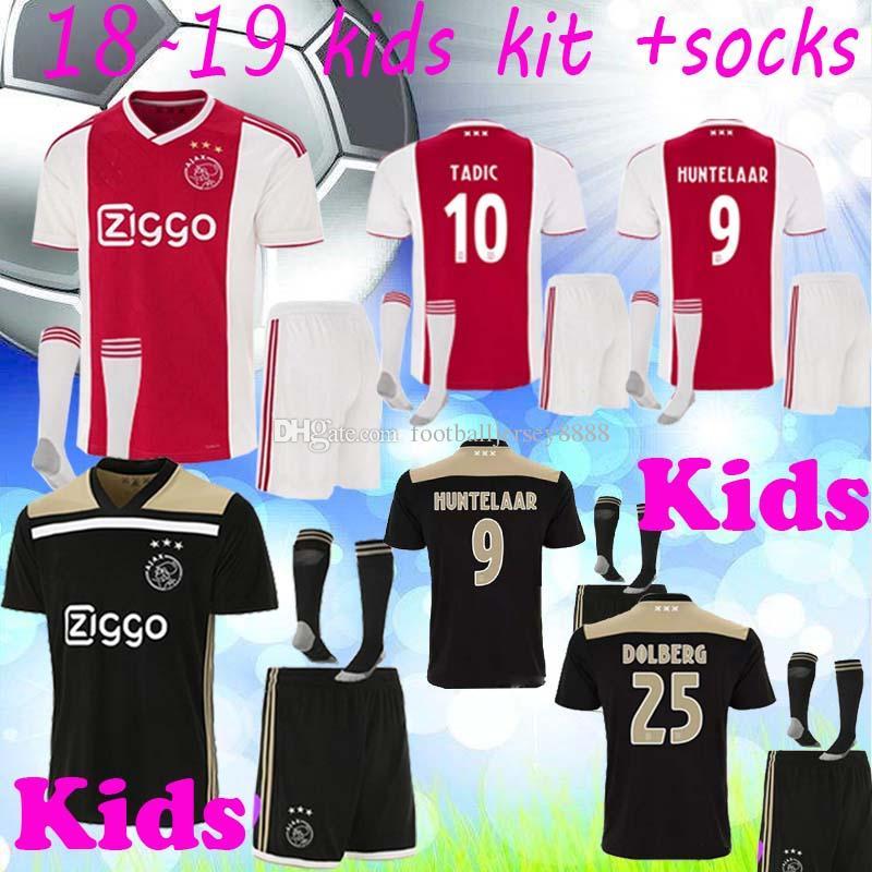 3f91181ffbb 2019 18 19 Ajax Kids Soccer Jersey Set With Socks Away Kids Football Kits 2018  19 ZIYECH TADIC HUNTELAAR Maillots De Fotball Jersey Boy From ...