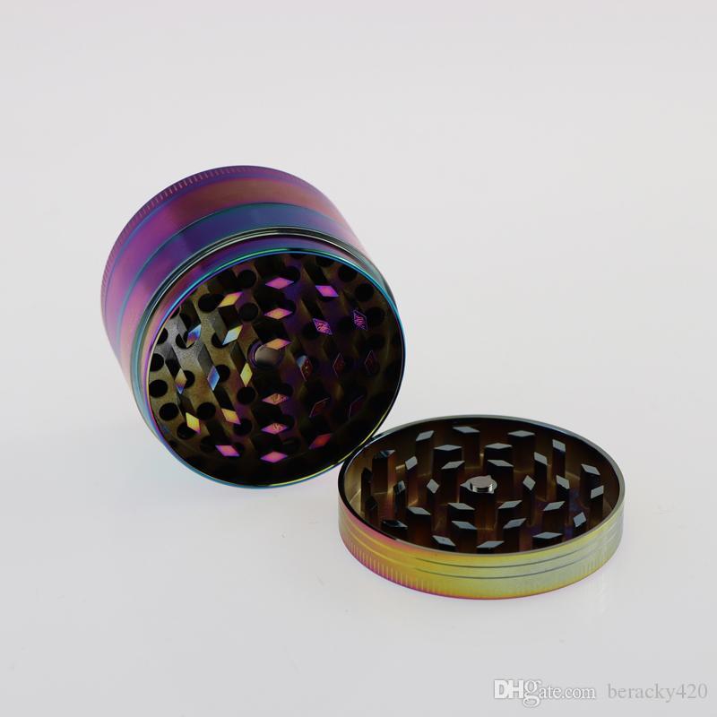 ¡Envío gratuito de DHL! Molinillo de hierba de metal Molinillo de tabaco barato de 4 partes Molinillo de aleación de zinc de metal de color arco iris de 50 mm