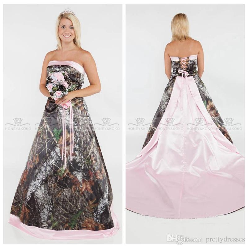 7c47a16770 Discount Strapless Camo A Line Camouflage Wedding Dresses 2018 Country Real  Tree Camouflage Bridal Gowns Lace Up Back Formal Pink Satin Vestidos Wedding  ...