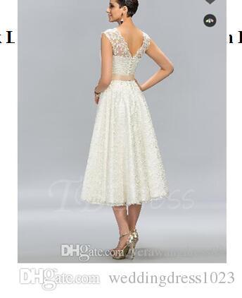 A Line Jewel Neck Lace Tea Length Junior Prom Dress Graduation Semi