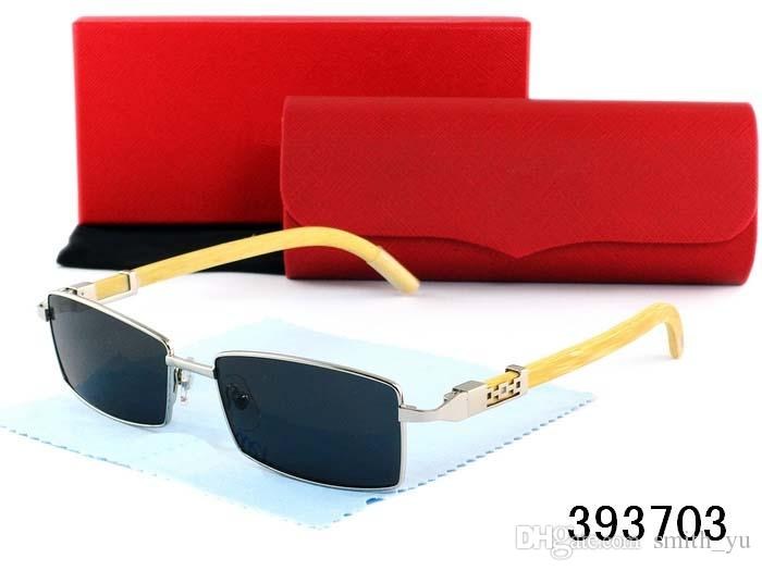 Mode Plain Gläser Holzrahmen Buffalo Randlose Rechteck Klassische Männer Frauen Markendesigner Brillen Rot Brillen Lunettes de soleil