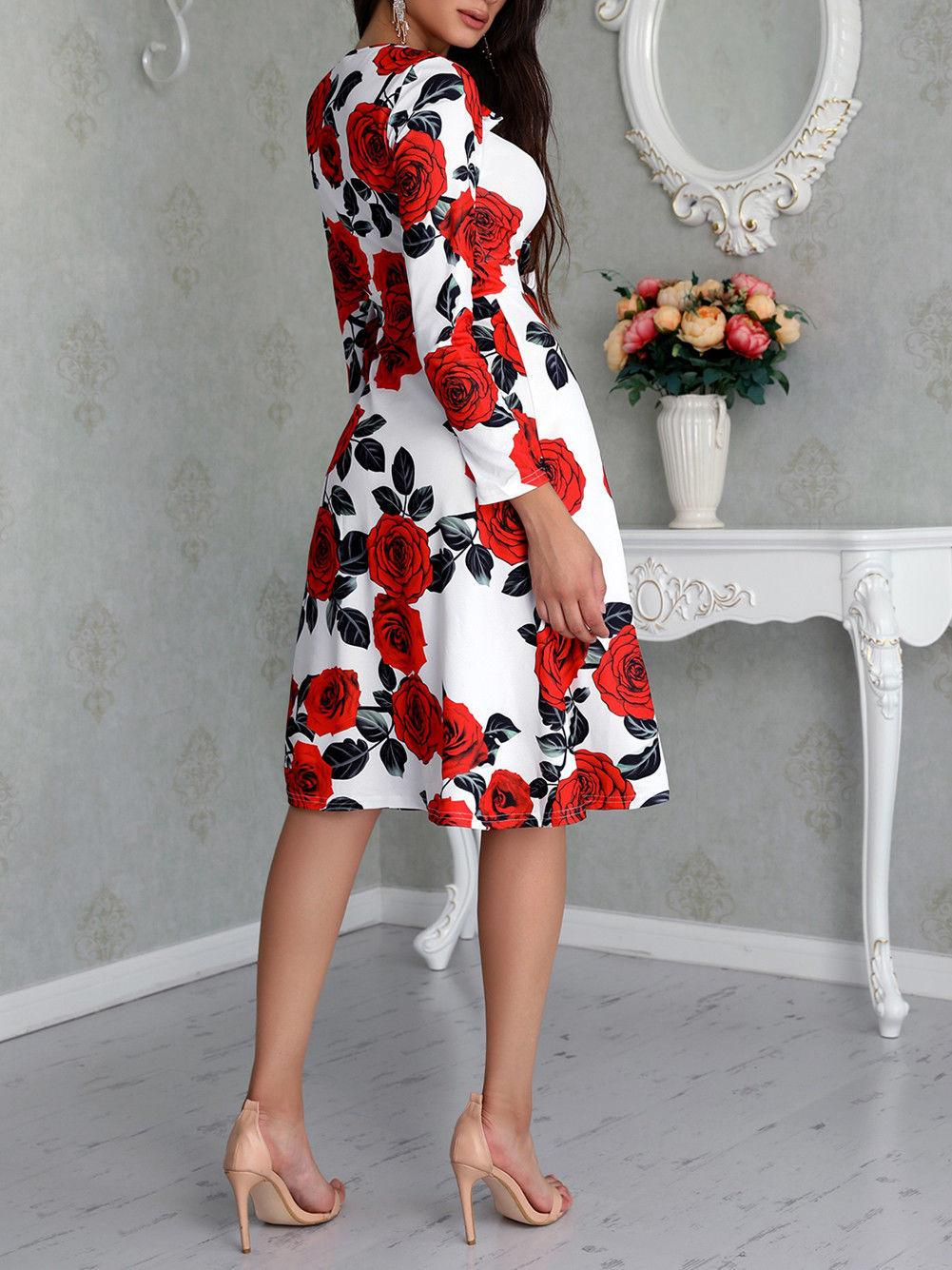 368a77a567d Floral Knee Length Dresses With Sleeves