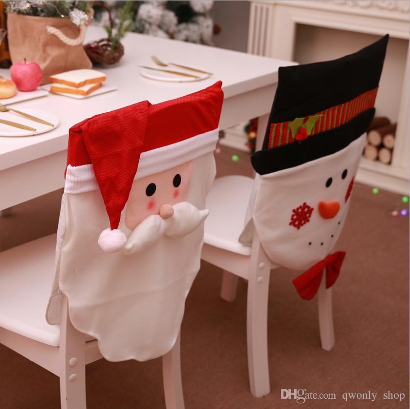 Christmas Chair Covers Santa Clause Design Snowman Home Restaurant