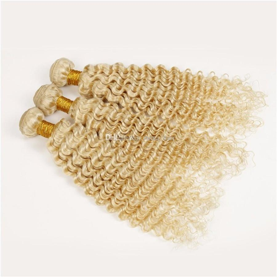 Platinum Blonde 9A Deep Wave Wavy Blonde Hair Weaves Unprocessed Blonde #613 Brazilian Human Hair Weft Extensions 3 Bundles