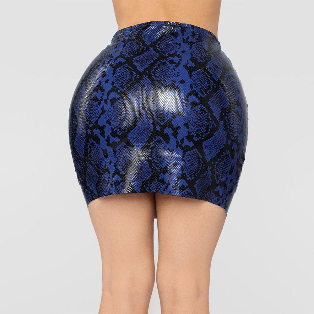 766f4649e5de 2019 Sexy Women Waist Faux Leather Skirt Ladies High Waist Snake Print Skirts  Women Zipper Chain Pencil Short Mini Skirt From Huangchao 2018