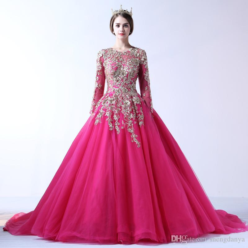 2017 Muslim Wedding Dress With Lace Embroidery Rose Red Scoop Neck ...