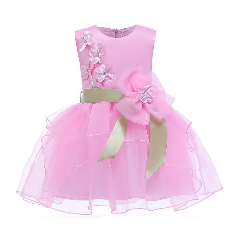 2a249b65d9b12 Acheter Princesse Filles Robe Mignon Fleur Enfants Vêtements Maille Sans  Manches D anniversaire Enfants Robes De Soirée Pour Les Filles Robes De Bal  De ...