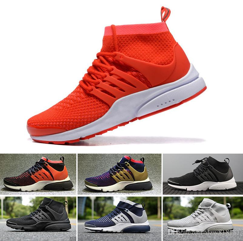 best service 9b813 24eb6 Acheter Nike Air Presto Flyknit Ultra 2018 Top Qualité Prestos Loisirs  Chaussures Hommes Femmes Br Qs Respirer Noir Blanc Jaune Occasionnel  Randonnée ...