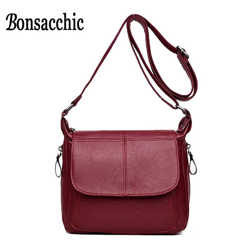 1ab1bf425ffd Bonsacchic Soft Leather Bags Women Shoulder Bag Small Luxury Brand Designer  Fashion Flap Crossbody Messenger Bag Red Black Purse Cheap Bags Cute Purses  From ...