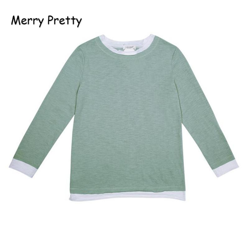 MERRY PRETTY Women Solid Color Patchwork Long Sleeve T Shirt Casual O Neck  Cotton Tees 2018 Autumn Fake Two Pieces Femme Tops Crazy Design Shirts Best  Tee ... 3e0373998