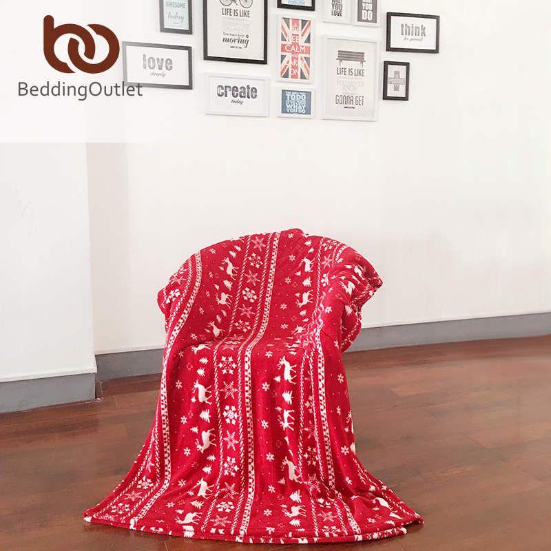 Beddingoutlet Christmas Blanket Elks Red And White Flannel Blanket Gorgeous Red And White Christmas Throw Blanket