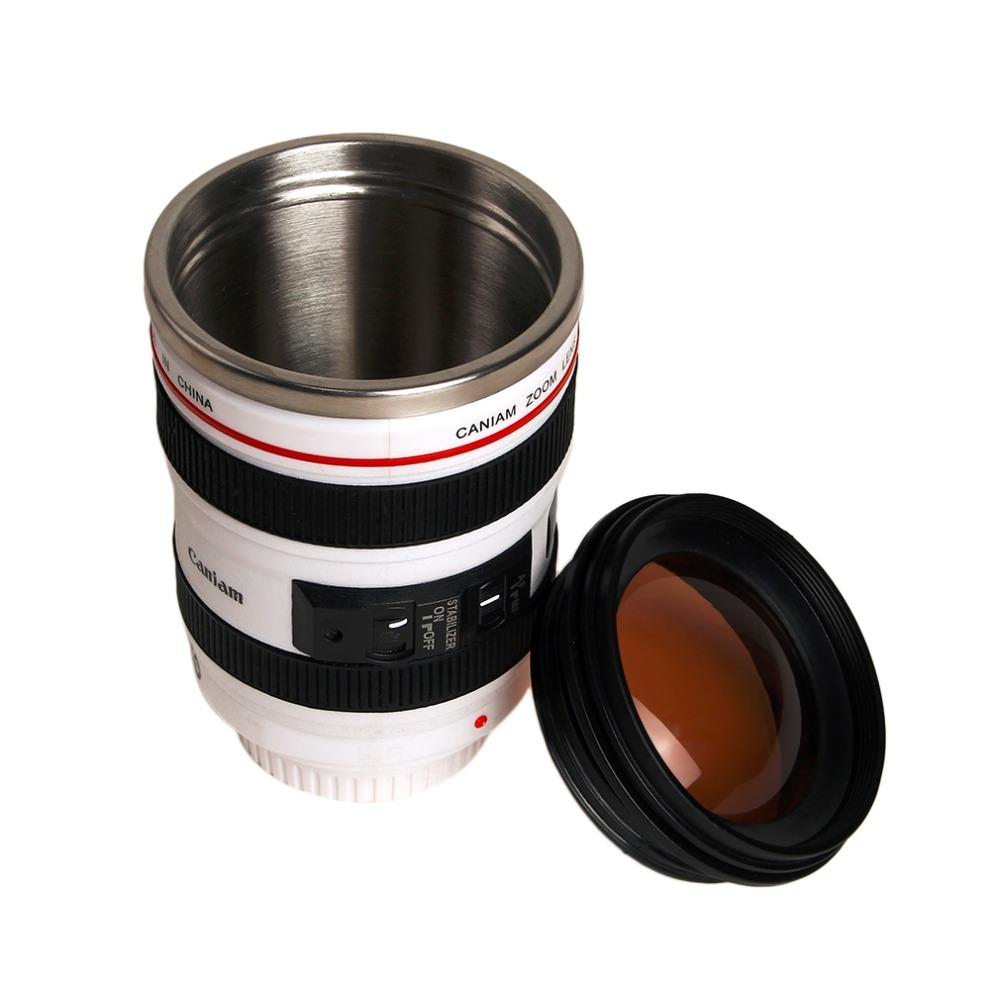 Eco-Friendly 2 Colors Durable Diy Stainless Steel Vacuum Flasks Travel Coffee Mug Cup Water Coffee Tea Camera Lens Cup With Lid Drop Ship