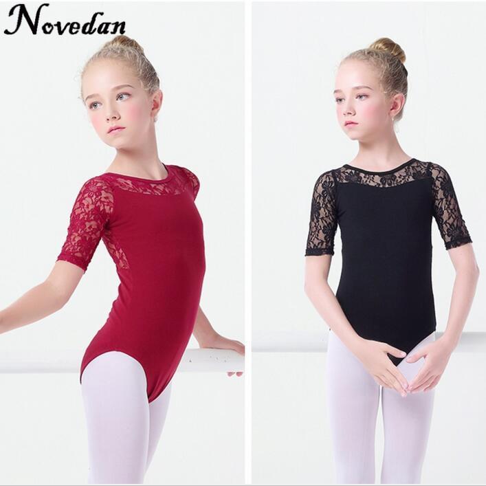 45394178af3bd New Black Lace Mesh Ballet Leotards Girls Kids Short Long Sleeve Ballet  Clothing Dancewear Children Gymnastics Leotards