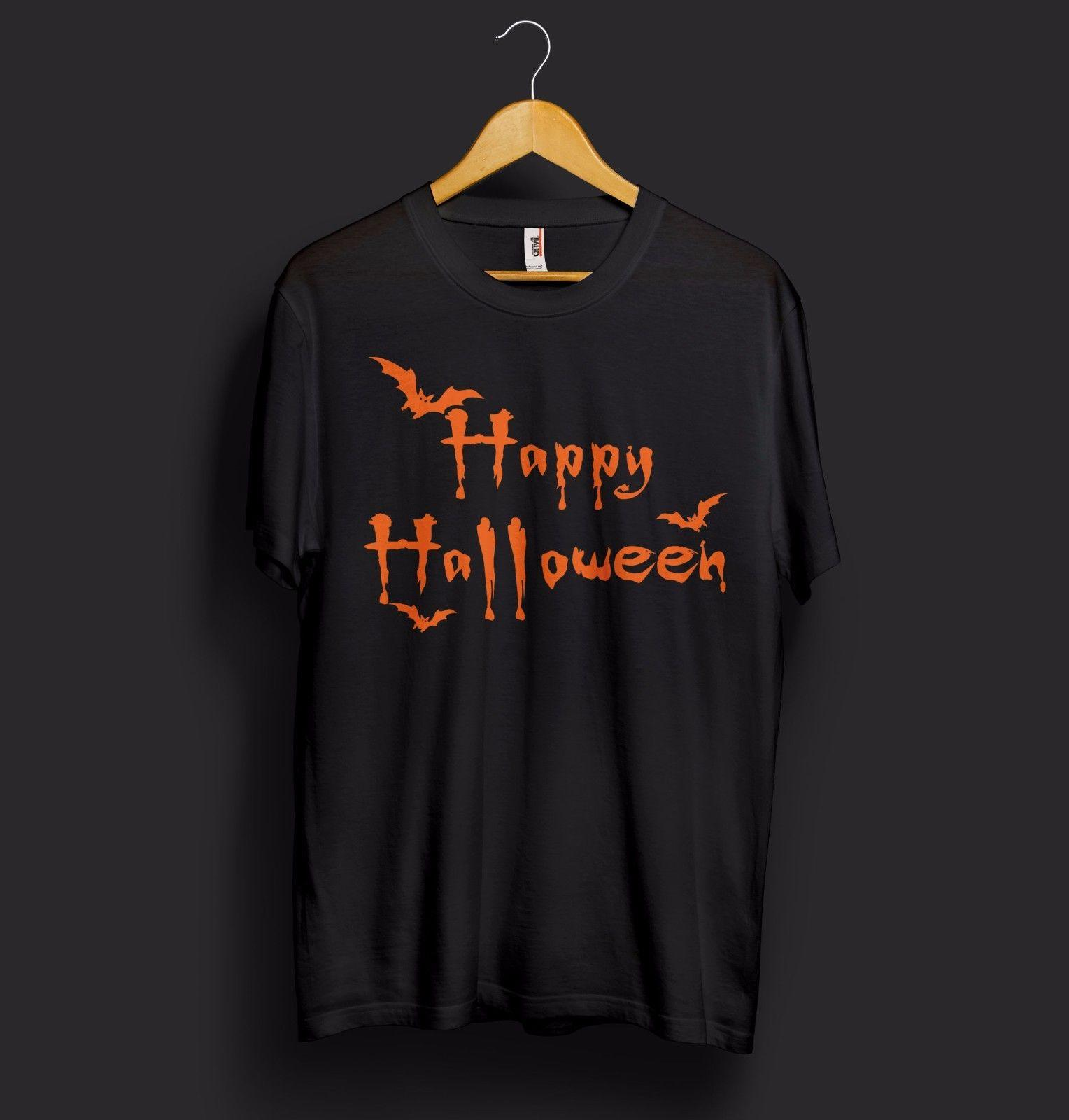 dcd27c24 Classic Happy Halloween T Shirt Top Trick Or Treat Scary Night Bats  Pumpkins Funniest T Shirts Mens Funny T Shirts From Notkillape, $11.01|  DHgate.Com