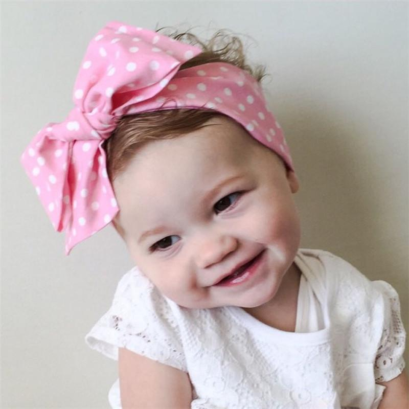 Knit Polka Dot Ribbon Bow Knot Head Wrap Girls Turban Headwears Fascia per capelli per neonati Fascia per capelli Accessori per capelli elastici
