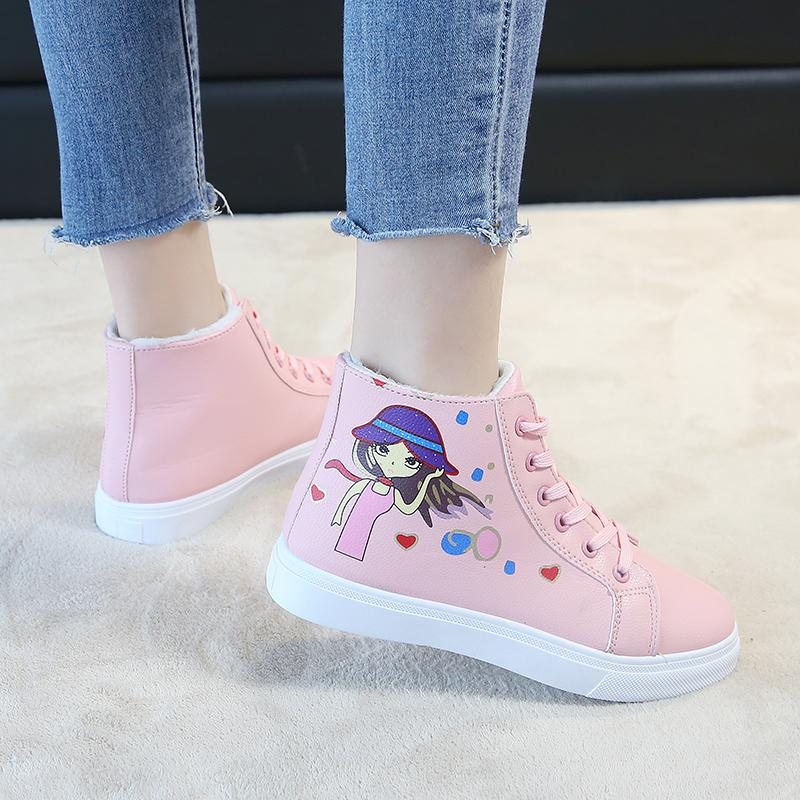 Newest Cute Sneakers Women Sport Ski Shoes Girls Students Outdoor Non Slip  Walking Snow Shoes Warm Plush High Top Sneakers UK 2019 From Kupaoliu 06b3a4dca224