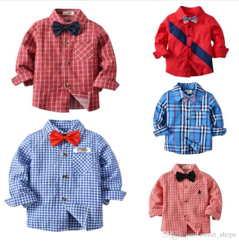 54592576b1 Kids Boys Plaid Shirt With Bow Tie Long Sleeve Cotton Striped T Shirts  Autumn Gentleman Tops Shellort England Trendy Blouse Casual Camicia Kids  White T ...
