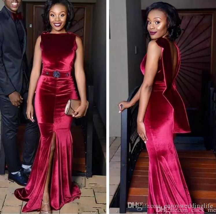 2018 African Dark Red Velvet Mermaid Prom Dresses Sexy Open Back Front Split  Evening Gowns Aso Ebi Black Girls Formal Party Gowns Formal Dresses For  Women ... 82caf5a4650c