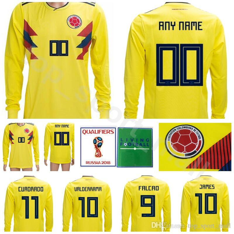 5483563a955 2019 Colombia Long Sleeve Jersey Soccer 2018 World Cup 10 JAMES Men Football  Shirt Kits 9 FALCAO 11 CUADRADO 7 BACCCA 8 AGUILAR Make Custom From ...