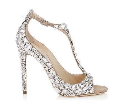 Scarpe Da Sposa Gioiello.Acquista 2018 Scarpe Da Sposa Con Diamanti Di Lusso Con Tacco