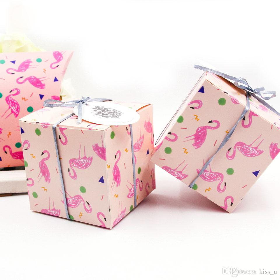 Flamingo Gift Box Cute Square Candy Pattern Diy Kraft Paper Wedding ...