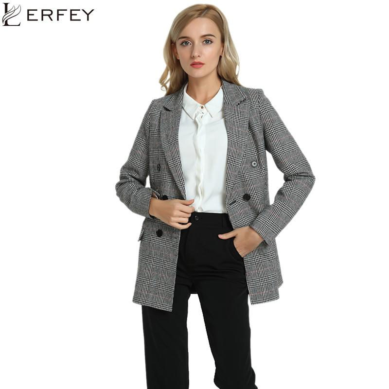 32bb2b597da 2019 LERFEY Autumn Casual Blazer Women Plaid Ladies Blazers Outwear Winter  Double Breasted Coats Office Jackets Blaser Femenino S18101303 From  Jinmei03