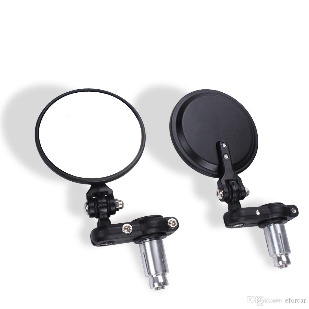 Motocicleta vista trasera laterales manillar barra redondo extremo espejo corredor bobber clubman espejos de motocicleta