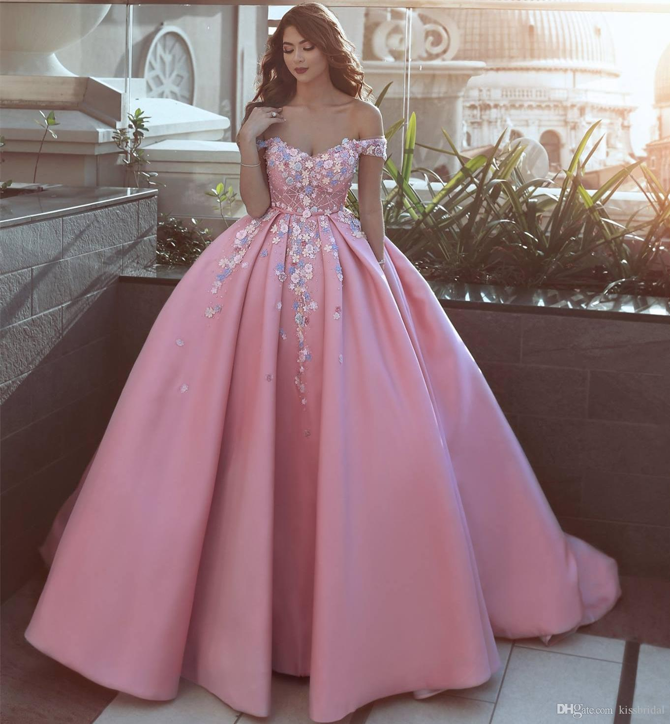 Pink Color Wedding Gown: Off Shoulder Pink Formal Evening Gowns 2019 Princess 3D