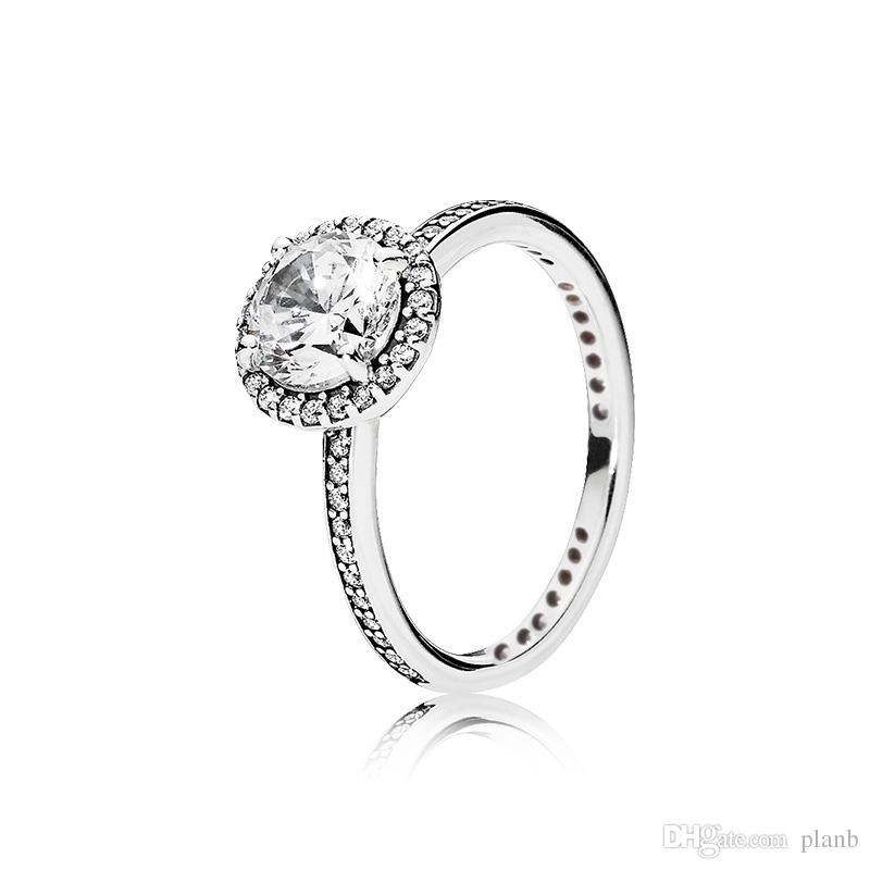 Réel 925 Sterling Silver CZ Diamant Anneau avec LOGO et Boîte d'origine Fit Pandora Style De Mariage Bague Fiançailles Bijoux pour Femmes