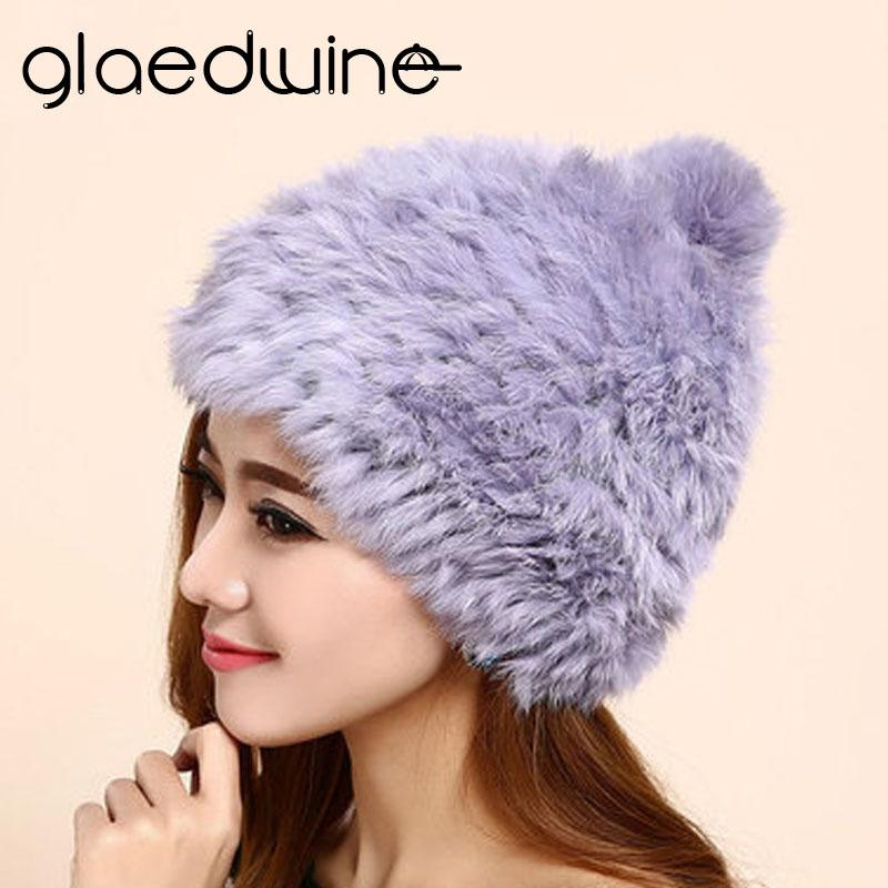 43e4be7b Glaedwine Brand High Quality Fashionable Winter Hats For Women Rabbit Fur Beanie  Knitting Wool Real Fur Casual Cute Girls Caps D18110102 Fitted Hats Straw  ...