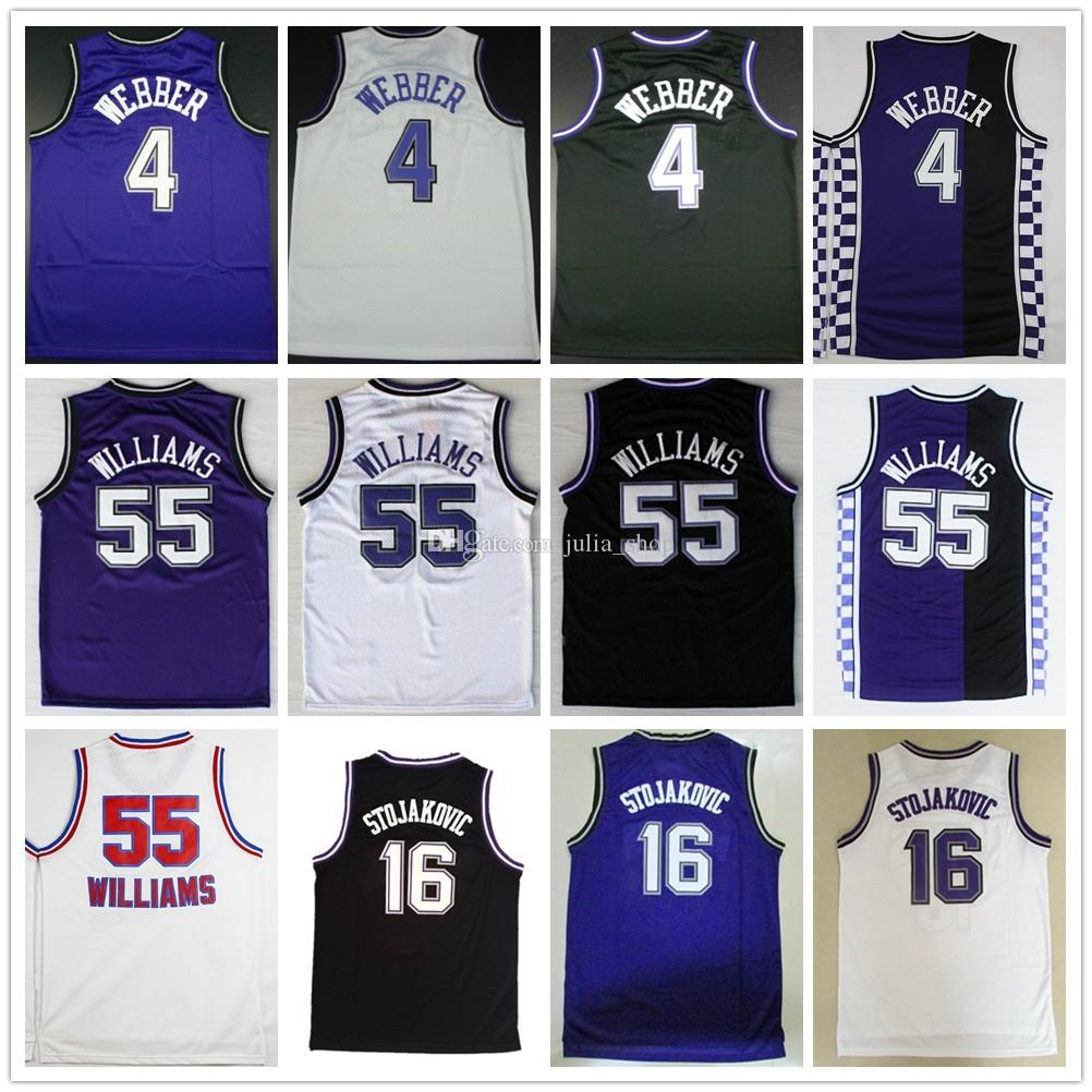 307fc8da0 2019 Wholesale Mens  55 Jason Williams Jersey 16 Peja Stojakovic 4 Chris  Webber Basketball Jerseys Purple Black White Color Accept From Diana shop