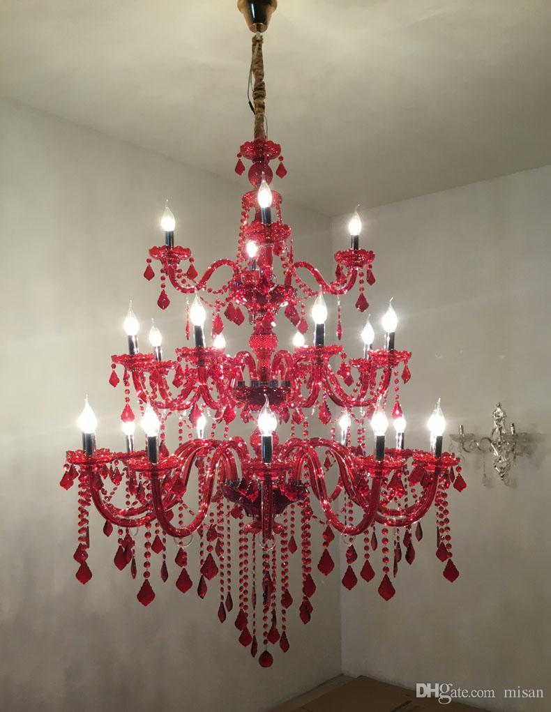 빨간색 3 층 대형 크리스탈 샹들리에 조명 Big Cristal Lustres 전등 설비 별장 호텔 용 빅 크리스탈 샹들리에