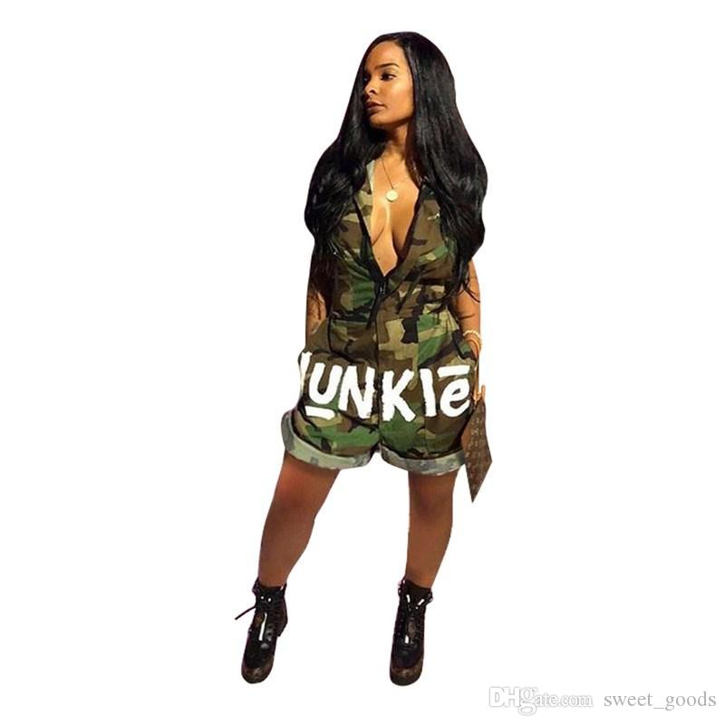 94a82590ebfa 2019 Sexy One Piece Junkie Wide Leg Jumpsuit For Women Sleeveless Comoflog Color  Knee Length Siamese Trousers With National Flag Camo Jumpsuits From ...