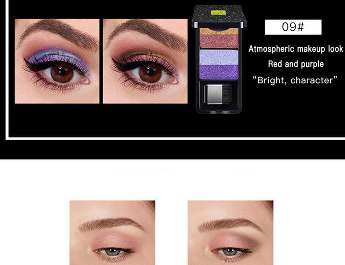 Pudaier nine stype Makeup Eyeshadow Palette 4 Color Nude Pigment Waterproof Shimmer Glitter Eye Shadow with Brush Kits