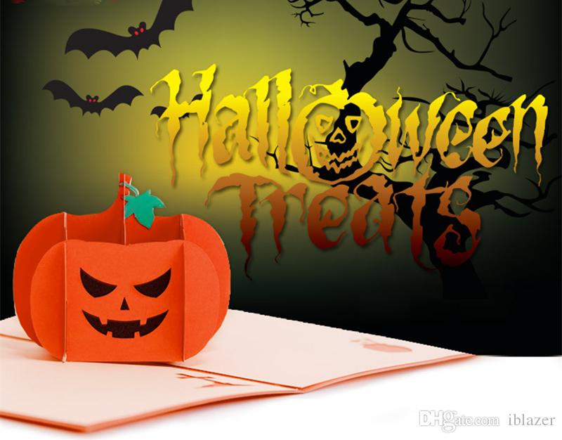 3d Pop Up Paper Greeting Card Angry Pumpkin Thank You Card Handmade
