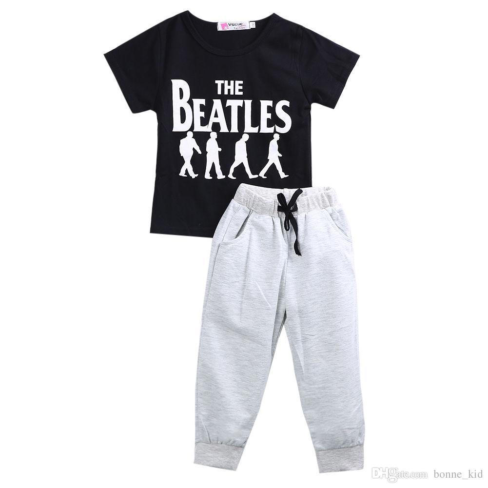 6355234b3cb6 Summer Kids Boy Casual Outfits Black T-shirt Gray Harem Pants Set ...