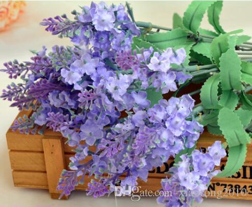 CALIENTE Lavanda Seda Bunch 5 tallos / pieza 10 UNIDS Lavanda Bush Bouquet Simulación Artificial flor Lila Púrpura Blanco Boda / Inicio
