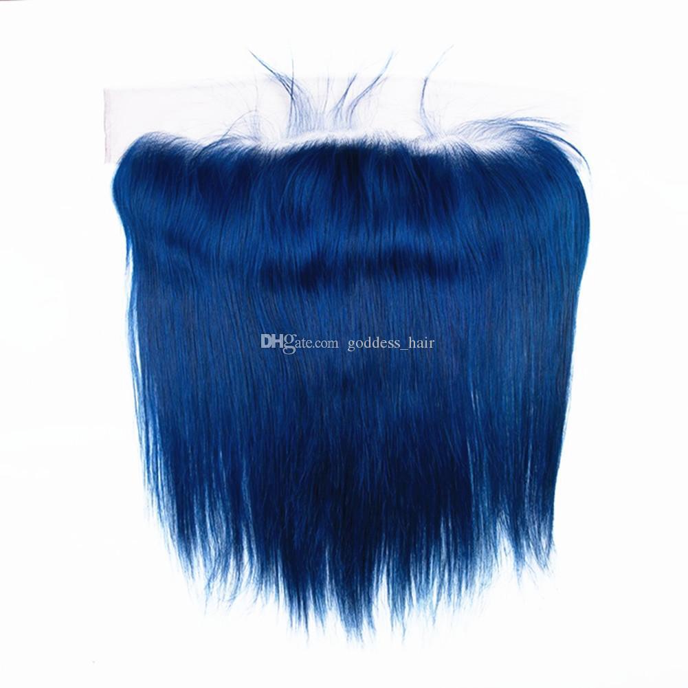 El cabello humano recto azul brasileño virginal 9A teje con el cordón frontal Cierre de oreja a oreja y los paquetes Azul oscuro Tramas de cabello y frontal