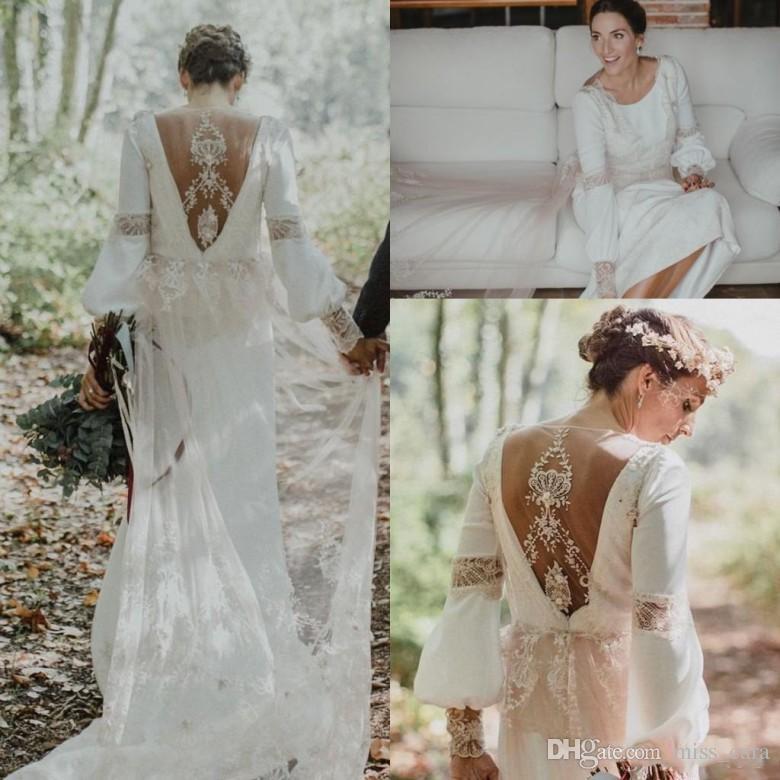 da174b2acbd Vintage Country Wedding Dresses 2018 Lace Floral Back Bohemian Greek Goddess  Jewel Long Sleeve Forest Garden Farm Bridal Dress Affordable Lace Wedding  ...