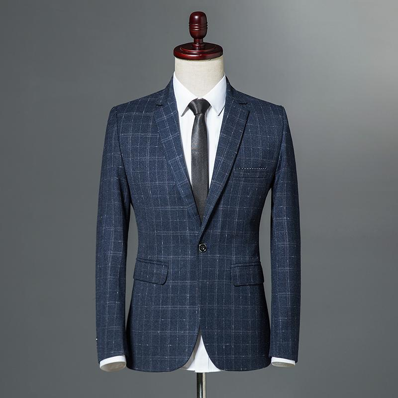 7a72a035a3088 2019 2018 Autumn Winter Classic Men Plaid Blazer Single Button Slim Fit  Blue Vintage Business Casual Jacket Wine Red Navy Blue M 3XL From Dayup, ...