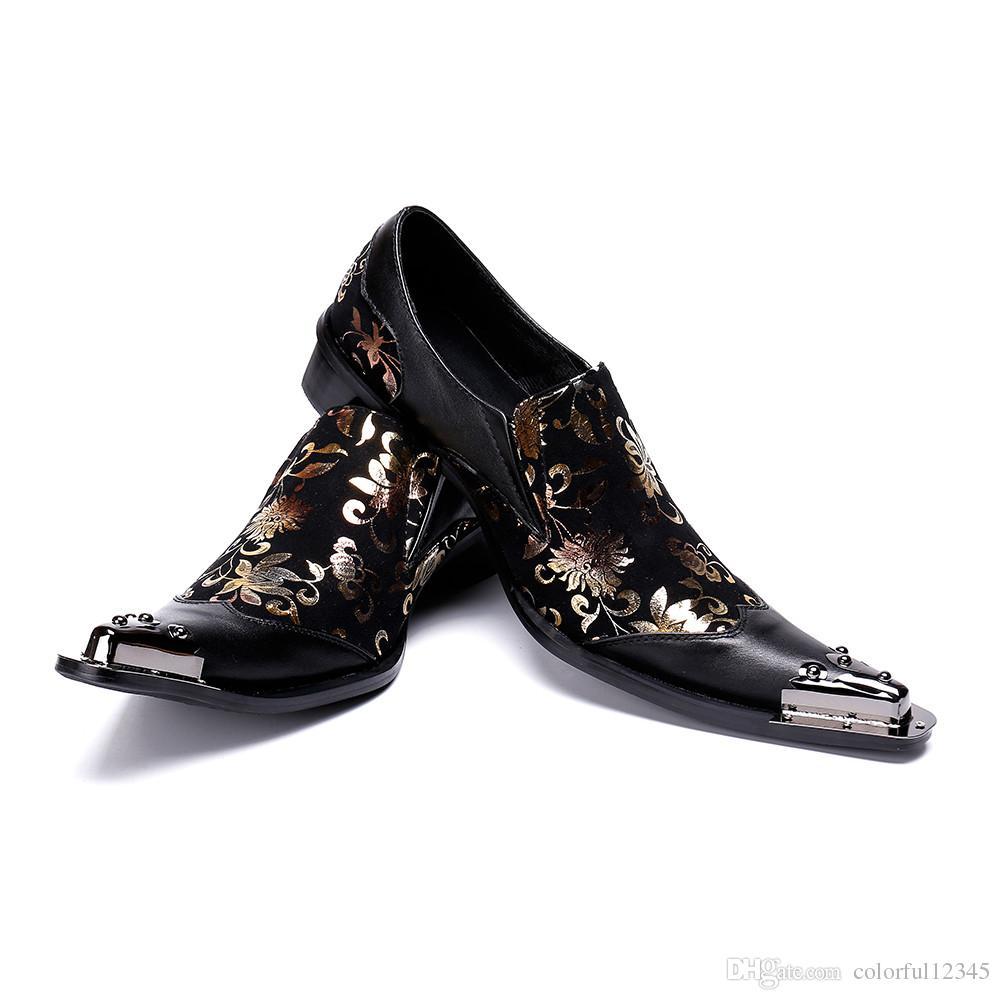 30d0c956 Compre Zapatos De Vestir De Punta De Metal Para Hombre Estilo Italiano  Zapatos De Fiesta De Color Negro Zapatos Formales De Estampado Floral De  Oro Para ...