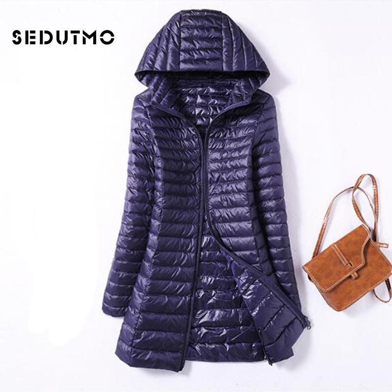 9c16f6cef SEDUTMO Winter Ultra Light Duck Womens Down Jackets Plus Size 3XL Long Down  Doat Puffer Jacket Slim Hooded Parkas ED038 S1031