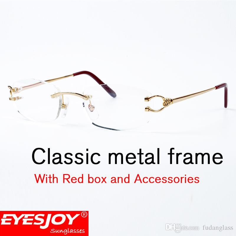 Mens Rimless Metal Frames Glasses Fashion Luxury Womens Eyeglasses ...