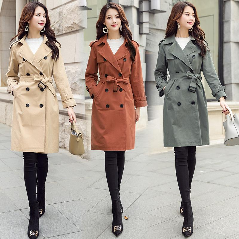 2b99d7e5c6 2019 Autumn And Winter Women Trench Coats Korean Fashion Long Sleeve Casual  Winter Overcoat Female Slim Double Breasted Outerwear From China_mike, ...