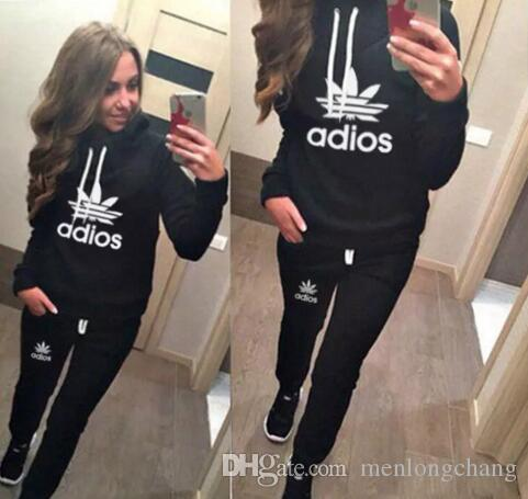 cb320449d7 Hot Sale!Ladies Sportsuit Long Pants Hoodies Suit Tracksuit for Women 2  Pieces Set Streetwear Sweatshirts Pullover Black Grey Sportwears