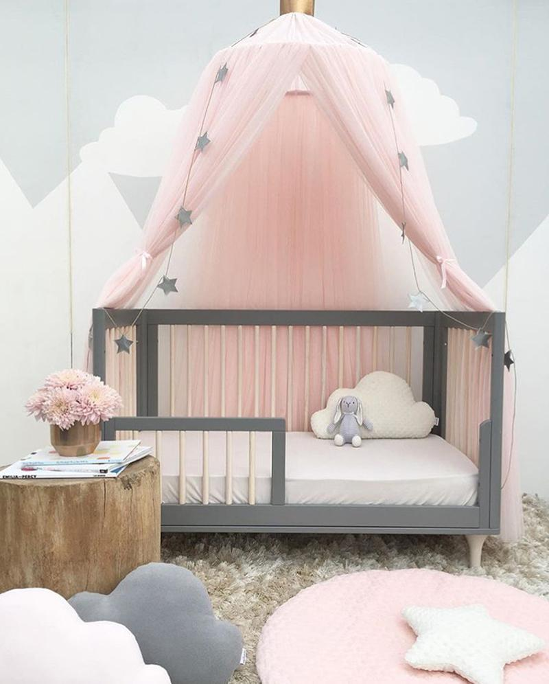 Crib Netting Mother & Kids Kids Room Bedding Romantic Round Bed Mosquito Net Bed Cover Hung Dome Bed Canopy For Kids Bedroom Nursery