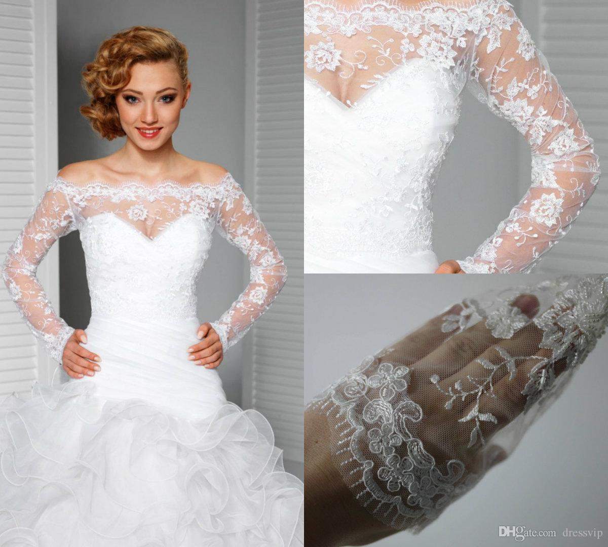 0adef9d75b7 2019 2018 Elegant Off Shoulder Lace Bolero Jacket Illusion Covered Button Jackets  Bridal Shrug Bride Wraps Wedding Dress Accessories Shawl From Dressvip